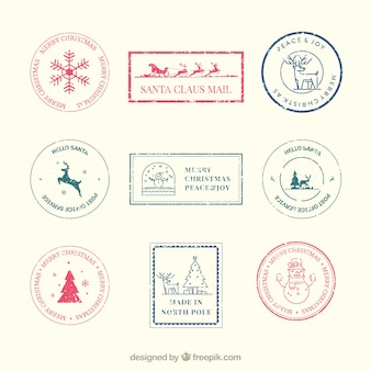 Selos de natal com estilo retro