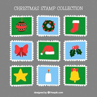 Selos de natal desenhados à mão quadrados