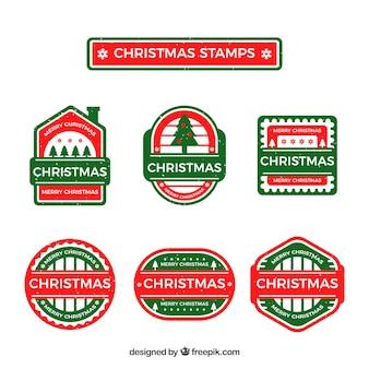 Selos de natal desenhados a mão vermelhos e verdes