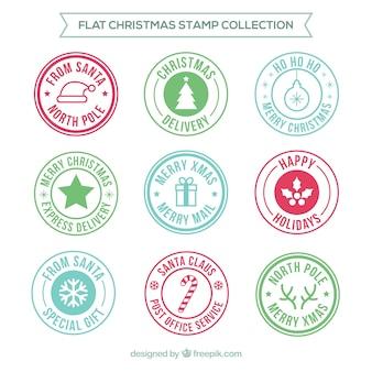 Selos de natal redondos planos
