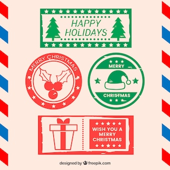 Selos de natal vermelho e verde