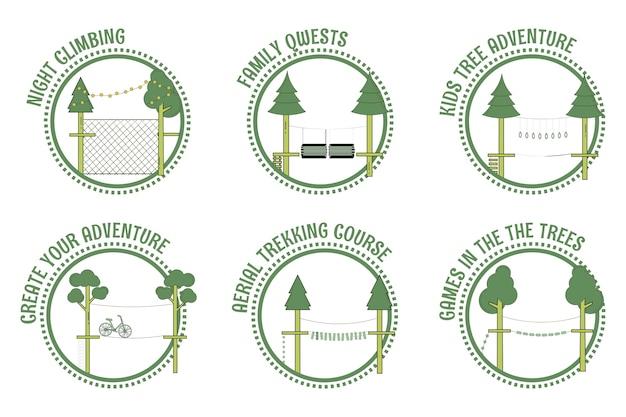 Selos de parque de corda de aventura