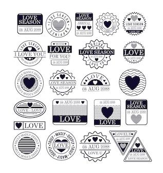 Selos de temporada de amor em silhueta azul escuro