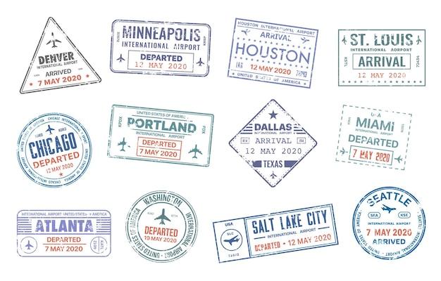 Selos de vetor de viagens de passaporte com nomes de cidades dos eua conjunto isolado de entrada de chegada de migração de país de denver, minneapolis, houston, st. louise e chicago, portland ou dallas, miami ou atlanta e washington