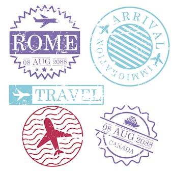 Selos de viagem de barco e avião