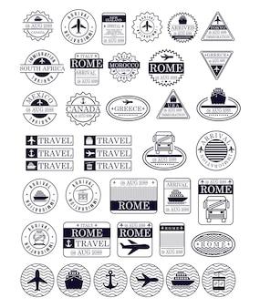Selos de viagem em silhueta azul escuro
