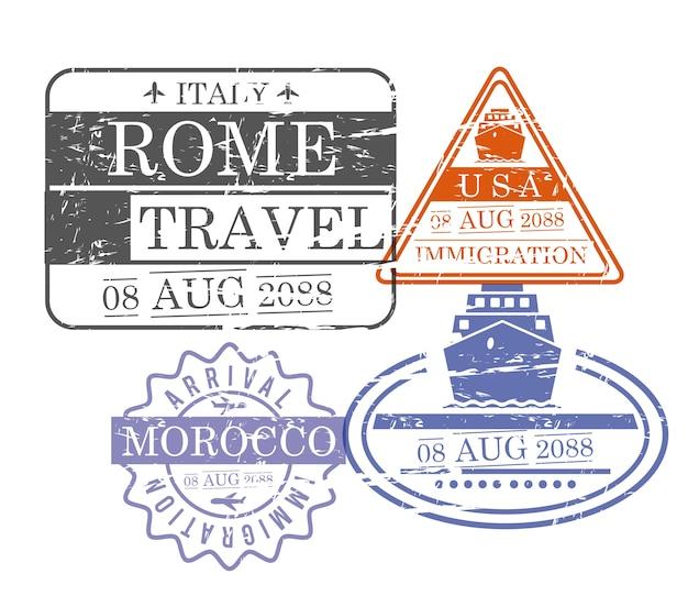 Selos de viagem para navios e aviões