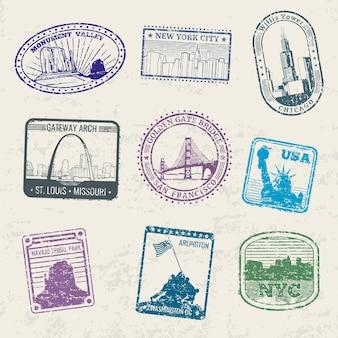 Selos de viagens pelo correio com monumentos famosos dos eua