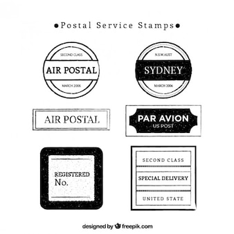 Selos do serviço postal em preto e branco