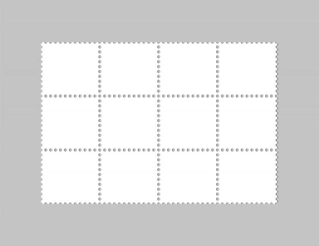 Selos em branco. cartão postal. selos para carta de correio.