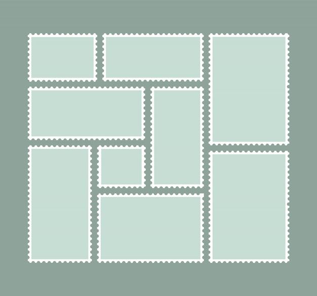 Selos em branco. selos para carta de correio. moldura postal.