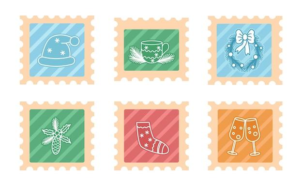 Selos fofos de natal com símbolos e elementos do feriado coleção de marcas de correio fofas