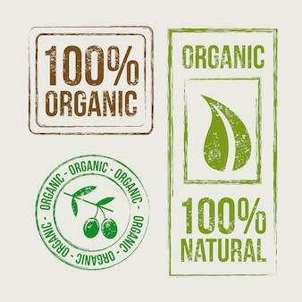Selos orgânicos sobre ilustração vetorial de fundo bege