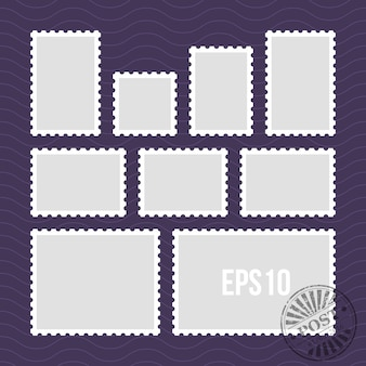 Selos postais com borda perfurada e modelo de vetor de carimbo de correio