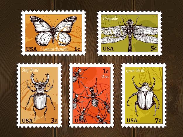 Selos postais com conjunto de esboços de insetos