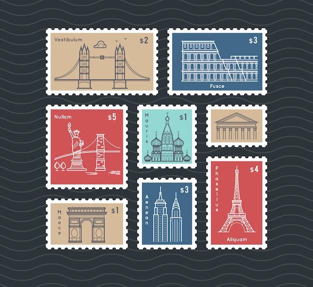 Selos postais, com, linha, viajando, cidade, marcos nacionais, vetorial, jogo