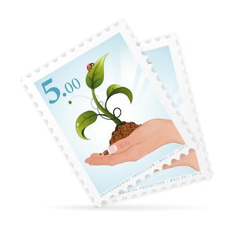 Selos postais com mão e broto