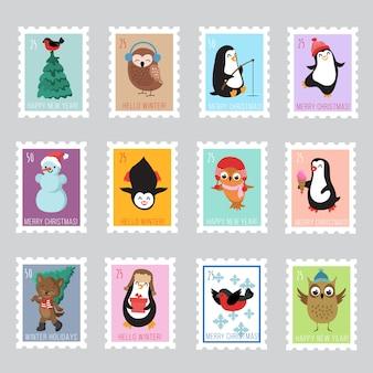 Selos postais de santa do natal