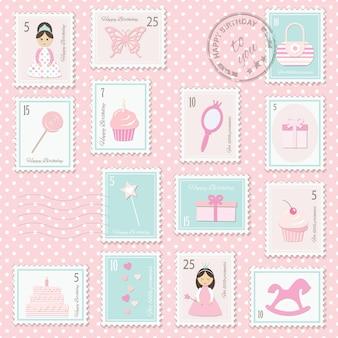 Selos postais do aniversário ajustados para meninas.