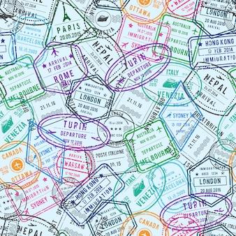 Selos postais e de imigração de diferentes países