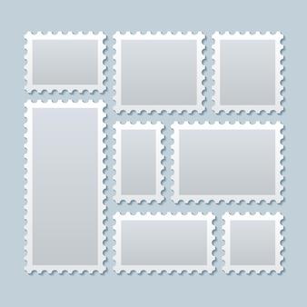 Selos postais em branco em tamanhos diferentes