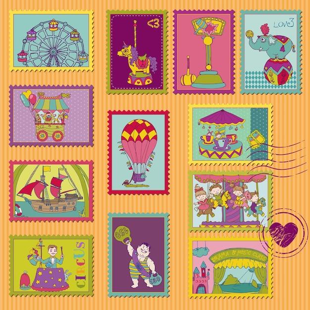 Selos postais engraçados do circo