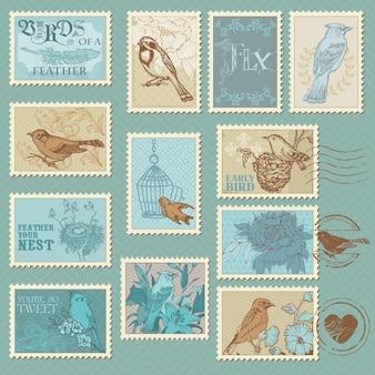 Selos postais retrô de pássaros