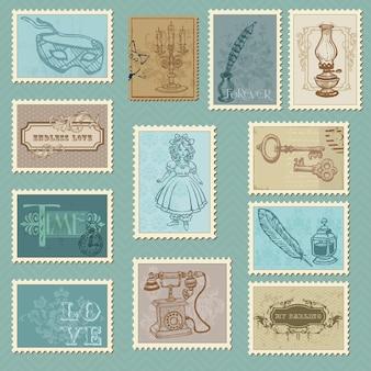 Selos postais retrô para design de casamento, convite
