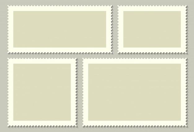 Selos postais vazios para o correio, cartão.