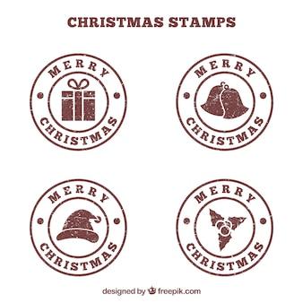 Selos redondos de natal marrom