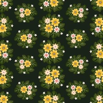 Selva amarela flores grinalda hera estilo com galho e folhas, padrão sem emenda