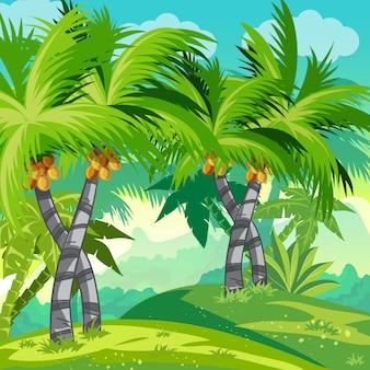 Selva de ilustração infantil com coqueiros.