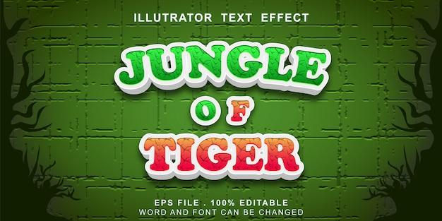 Selva do efeito de texto tigre editável