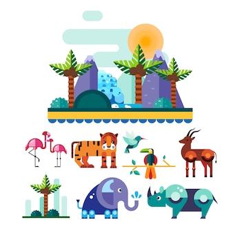 Selva e animais tropicais, conjunto de ilustração de pássaros