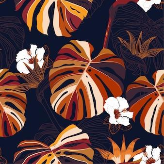Selva escura exótica moderna e plantas sem costura padrão