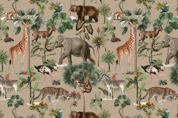 Selva padrão de fundo de vetores animais selvagens