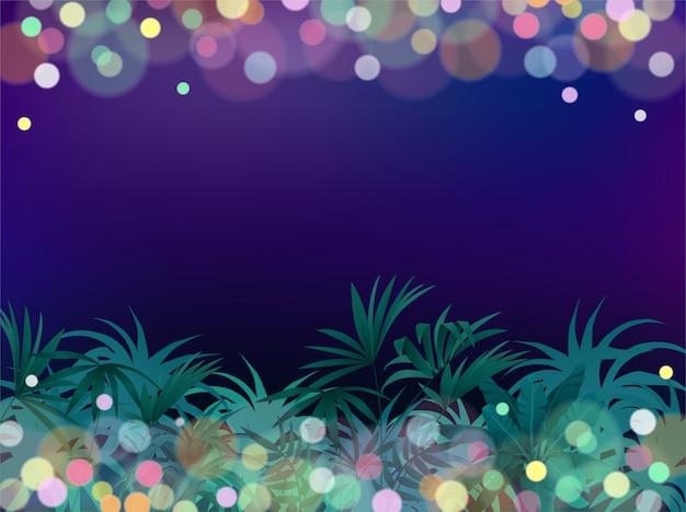 Selva tropical da noite do fundo do jogo.