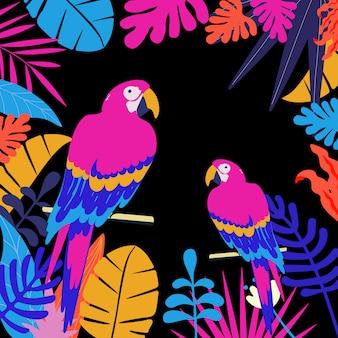 Selva tropical deixa fundo de cartaz com papagaios