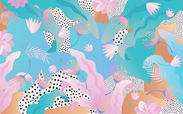 Selva tropical, folhas, e, flores, fundo