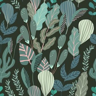 Selva verde com padrão sem emenda de folhagem