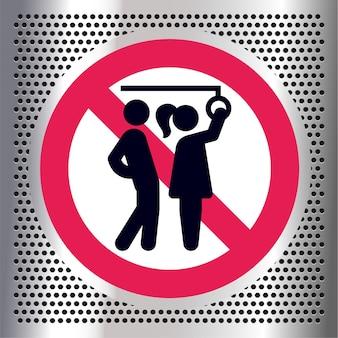 Sem agressão sexual, sinal de proibição de transporte público,