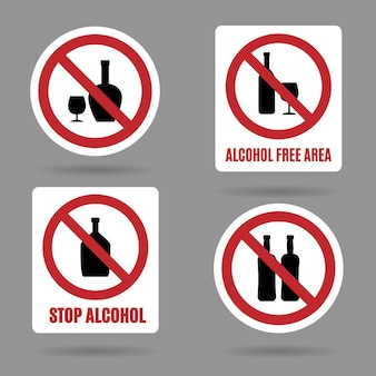 Sem álcool e sinais de área livre de álcool.