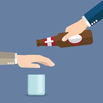 Sem álcool. o homem oferece beber uma garrafa de cerveja na mão. pare o álcool. rejeição gestual de mão.