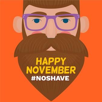 Sem barba feliz movember design plano