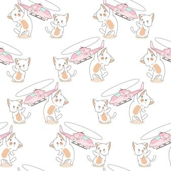 Sem costura 2 gatos kawaii estão jogando padrão de brinquedo de helicóptero.