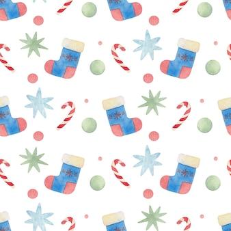 Sem costura aquarela padrão de natal com presentes, pirulitos e meias
