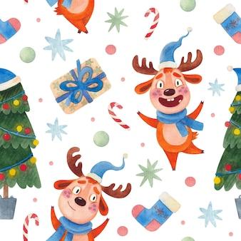 Sem costura aquarela padrão de natal com renas e uma árvore de natal Vetor Premium