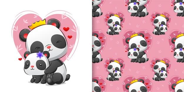 Sem costura colorida de linda panda abraçando seu bebê cheio de ilustração de amor