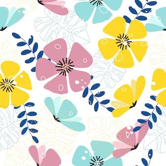 Sem costura colorida primavera tropical floral de fundo