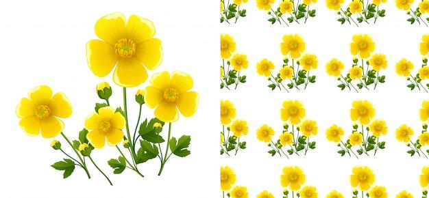 Sem costura com flores amarelas